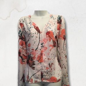 Floral & Paint Drops White Long Sleeves Blouse